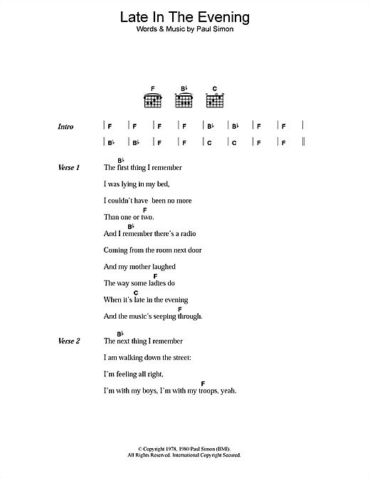 Late In The Evening (Guitar Chords/Lyrics)