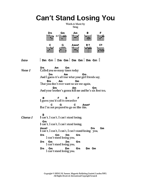 Can't Stand Losing You Sheet Music