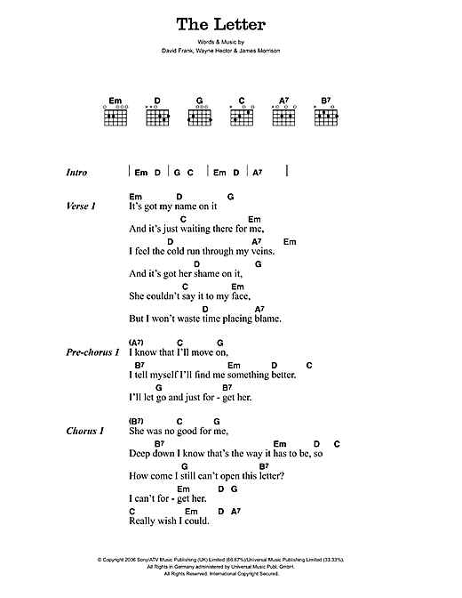 The Letter Sheet Music By James Morrison Lyrics Amp Chords