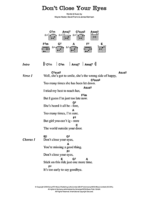 Dont Close Your Eyes Sheet Music By James Morrison Lyrics Chords