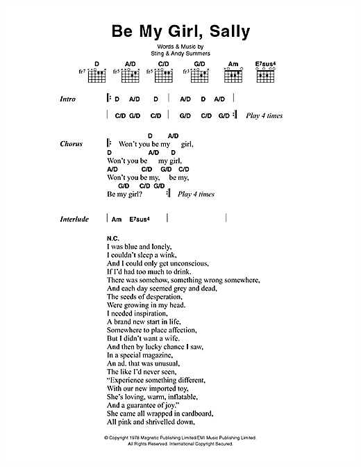 Be My Girl, Sally sheet music by The Police (Lyrics & Chords – 45526)