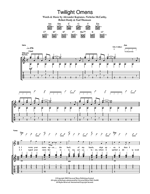 Tablature guitare Twilight Omens de Franz Ferdinand - Tablature Guitare