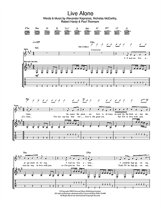Tablature guitare Live Alone de Franz Ferdinand - Tablature Guitare