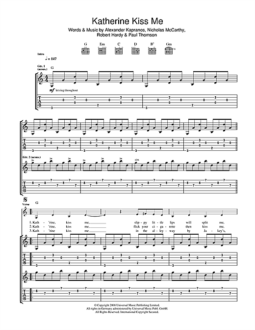 Katherine Kiss Me Sheet Music