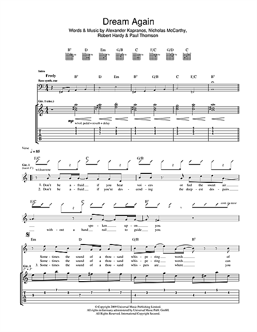 Tablature guitare Dream Again de Franz Ferdinand - Tablature Guitare