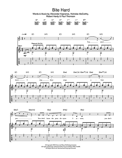 Tablature guitare Bite Hard de Franz Ferdinand - Tablature Guitare