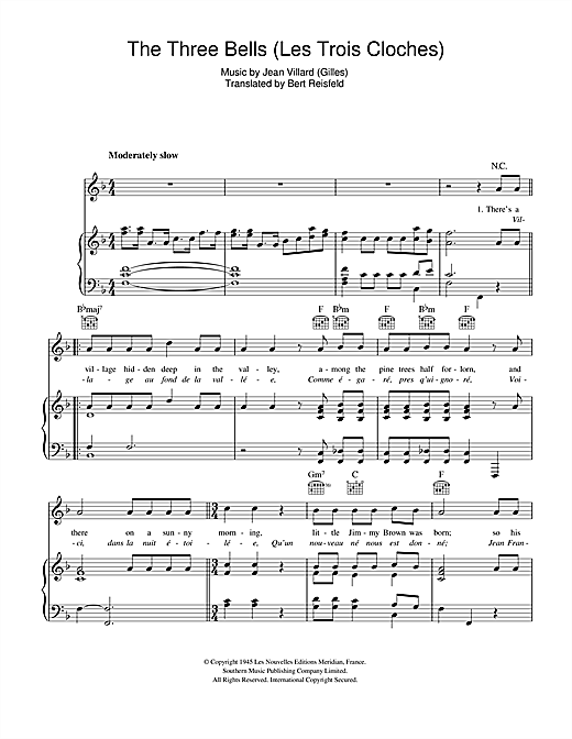 The Three Bells (Les Trois Cloches) Sheet Music