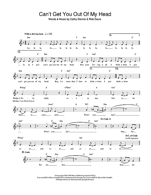 Can't Get You Out Of My Head (Lead Sheet / Fake Book)