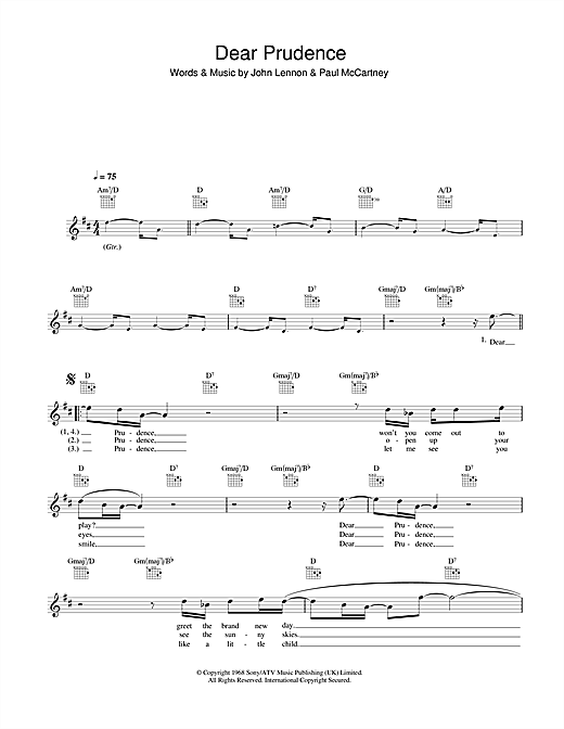 Dear Prudence (Lead Sheet / Fake Book)