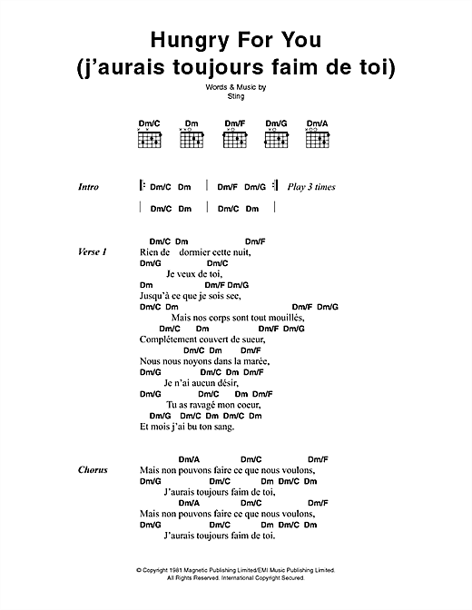 Hungry For You (J'aurais Toujours Faim De Toi) (Lyrics & Chords)