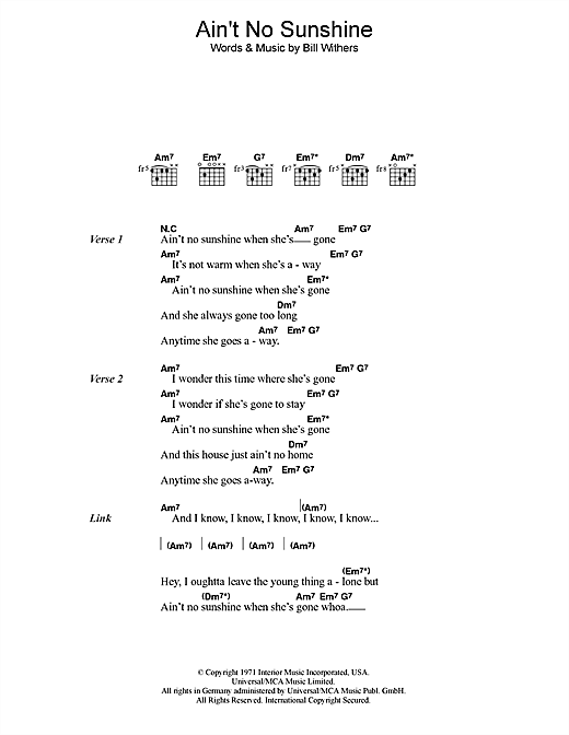 Ain\'t No Sunshine sheet music by Bill Withers (Lyrics & Chords – 45604)