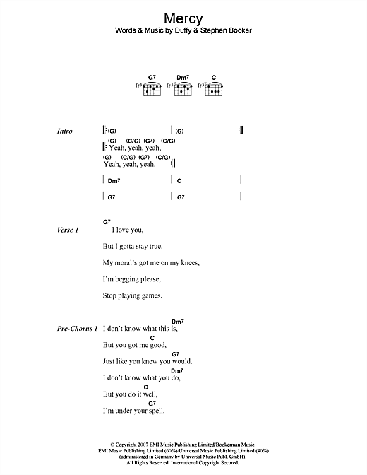 Mercy sheet music by Duffy (Lyrics & Chords – 45610)