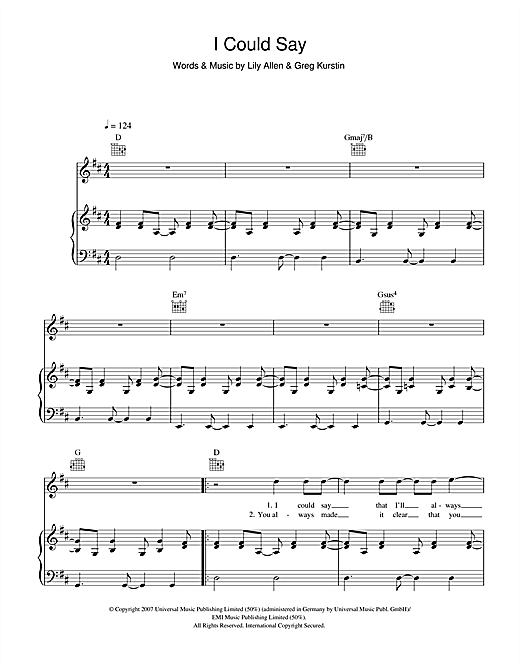 Partition piano I Could Say de Lily Allen - Piano Voix Guitare