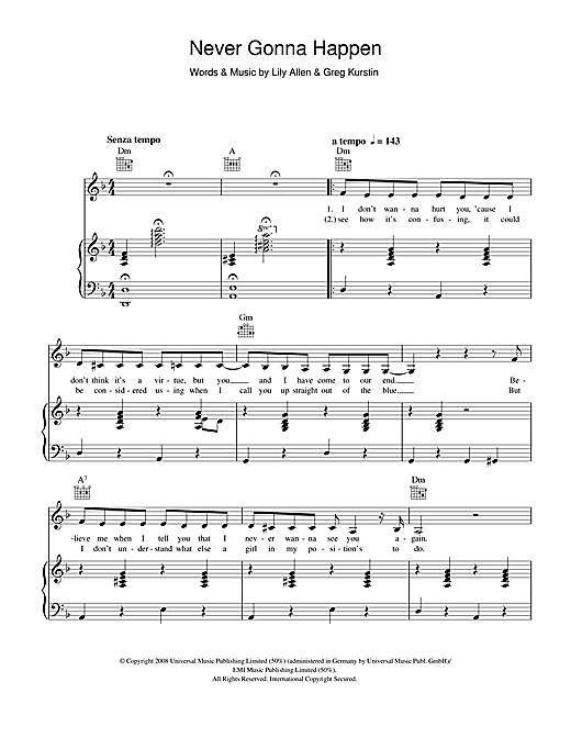 Never Gonna Happen Sheet Music