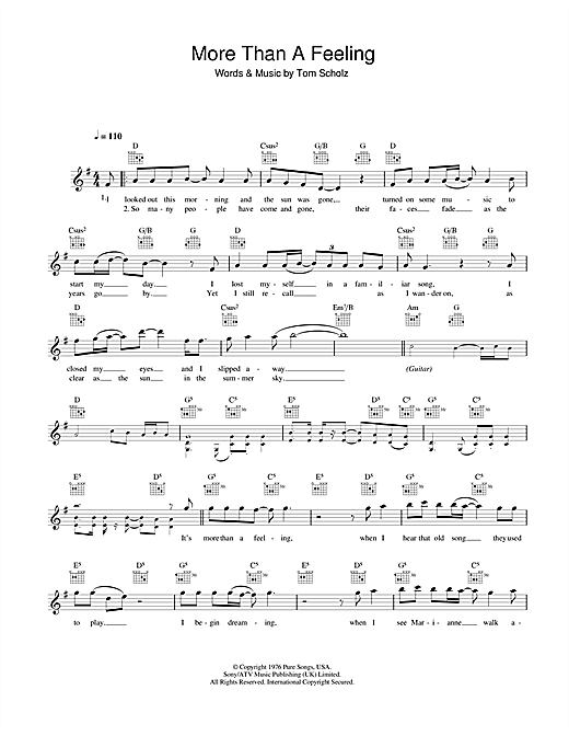 More Than A Feeling (Lead Sheet / Fake Book)