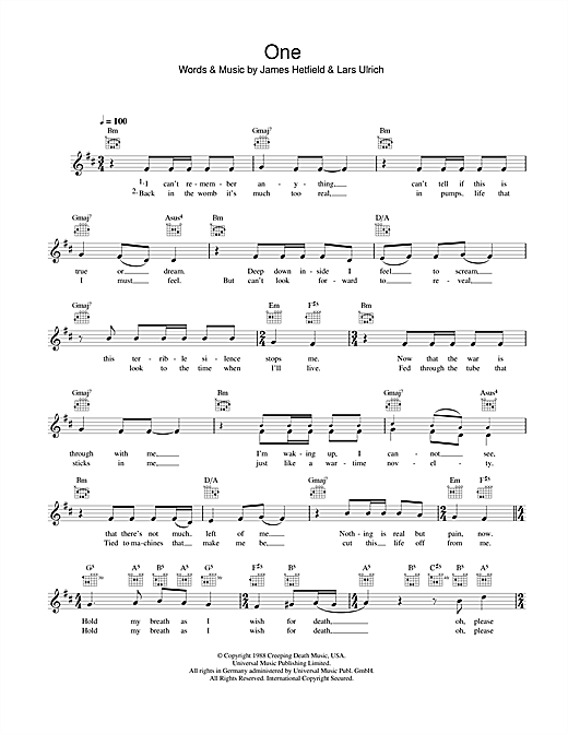 Piano piano tabs nothing else matters : One chords by Metallica (Melody Line, Lyrics & Chords – 45642)
