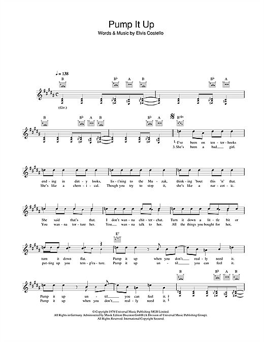 Pump It Up Sheet Music