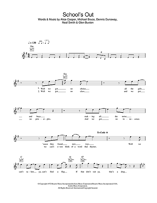 School's Out (Lead Sheet / Fake Book)
