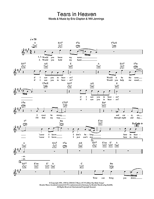 Tears In Heaven chords by Eric Clapton (Melody Line, Lyrics ...