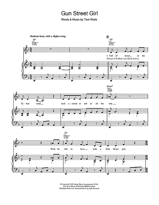 Gun Street Girl Sheet Music