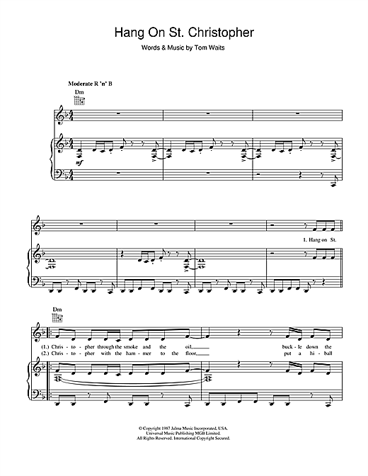 Partition piano Hang On St. Christopher de Tom Waits - Piano Voix Guitare
