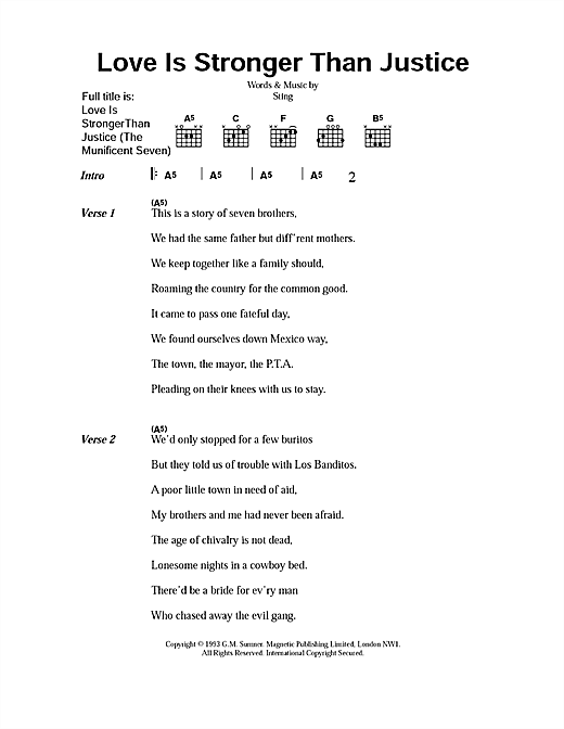 Love Is Stronger Than Justice (The Munificent Seven) (Guitar Chords/Lyrics)