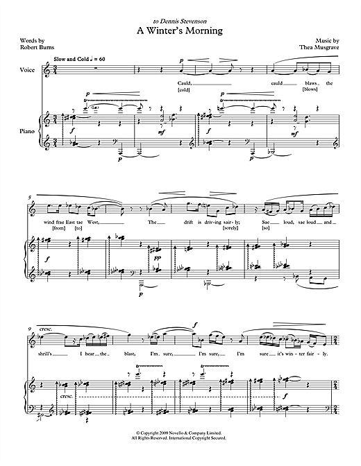 A Winter's Morning (for soprano & piano) Sheet Music