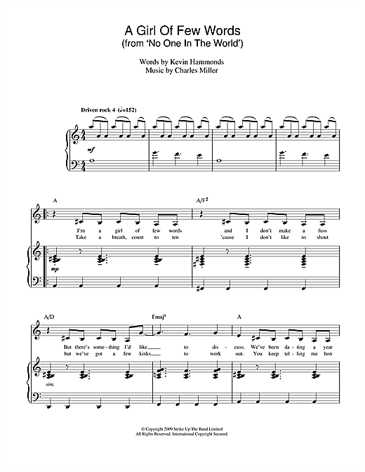 A Girl Of Few Words (from No One In The World) Sheet Music