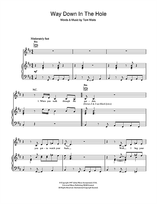 Way Down In The Hole Sheet Music