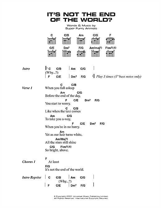 It's Not The End Of The World (Guitar Chords/Lyrics)
