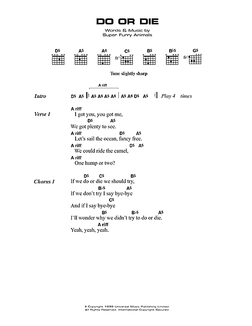 Do Or Die Sheet Music