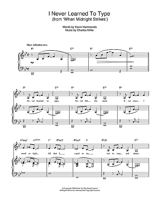I Never Learned To Type (from When Midnight Strikes) Sheet Music