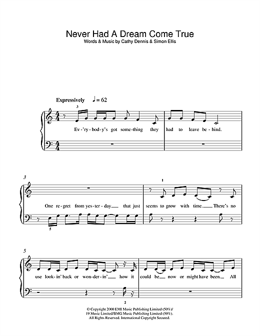 Never Had A Dream Come True Sheet Music