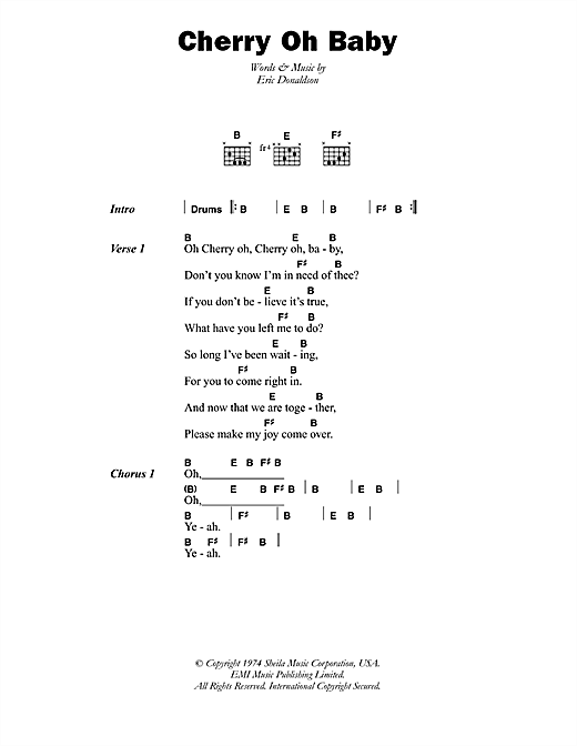 Cherry Oh Baby Sheet Music