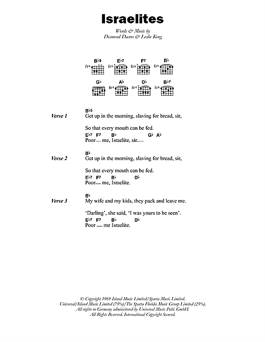 The Israelites Sheet Music