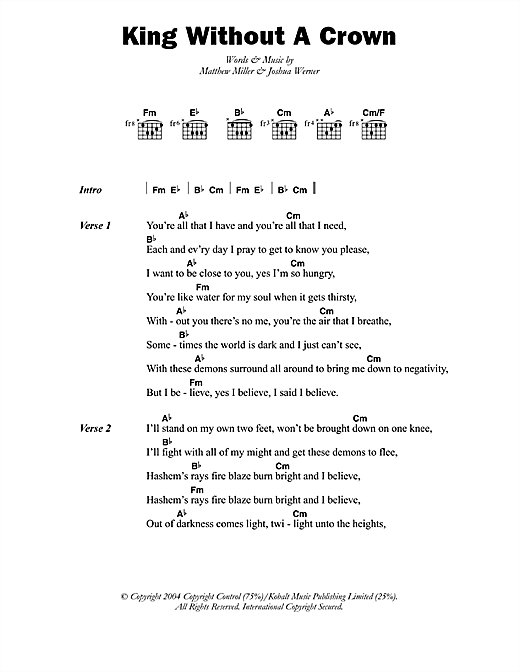 King Without A Crown Sheet Music