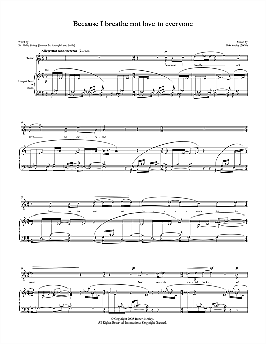 Partition autre Because I breathe not love to everyone (for tenor & harpsichord) de Robert Keeley - Piano Voix