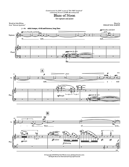 Partition autre Blaze of Noon (for soprano & piano) de Phillip Neil Martin - Piano Voix