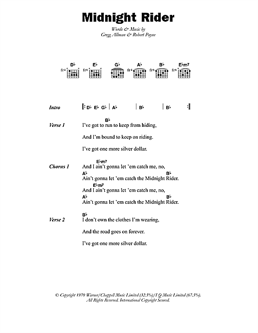 Midnight Rider sheet music by Paul Davidson (Lyrics & Chords – 45862)