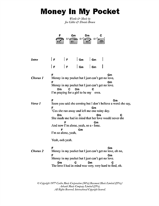 Money In My Pocket Sheet Music By Dennis Brown Lyrics Chords 45863