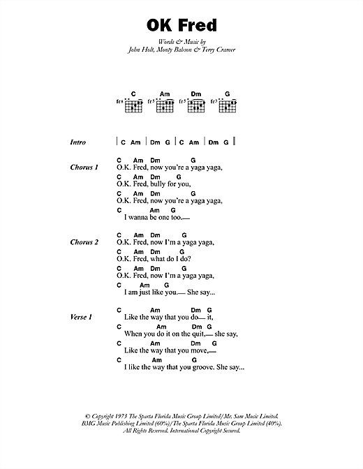 OK Fred Sheet Music