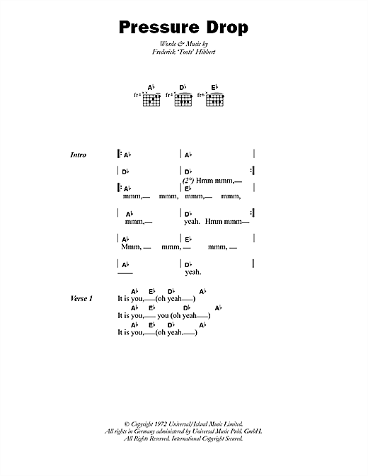 Pressure Drop Sheet Music