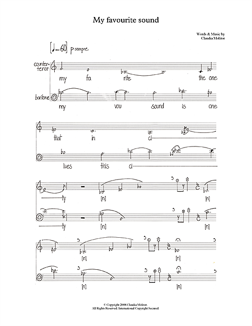 My favourite sound (for counter-tenor & baritone) Sheet Music