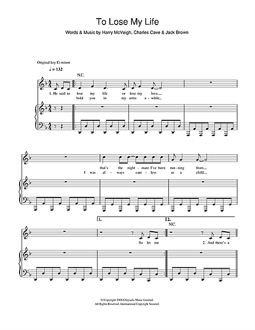 To Lose My Life Sheet Music
