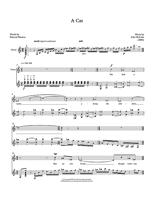 Partition autre A Cat (for mezzo-soprano & guitar) de John McCabe - Piano Voix