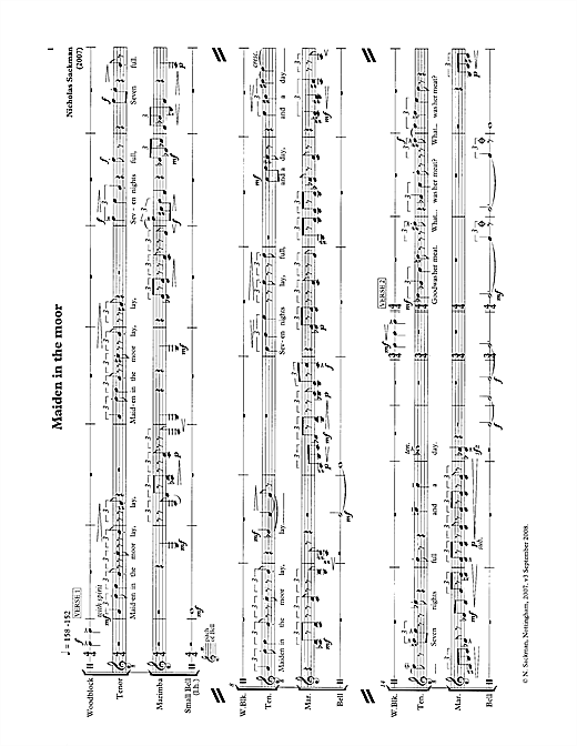 Partition autre Maiden in the moor (for tenor & percussion) de Nicholas Sackman - Piano Voix