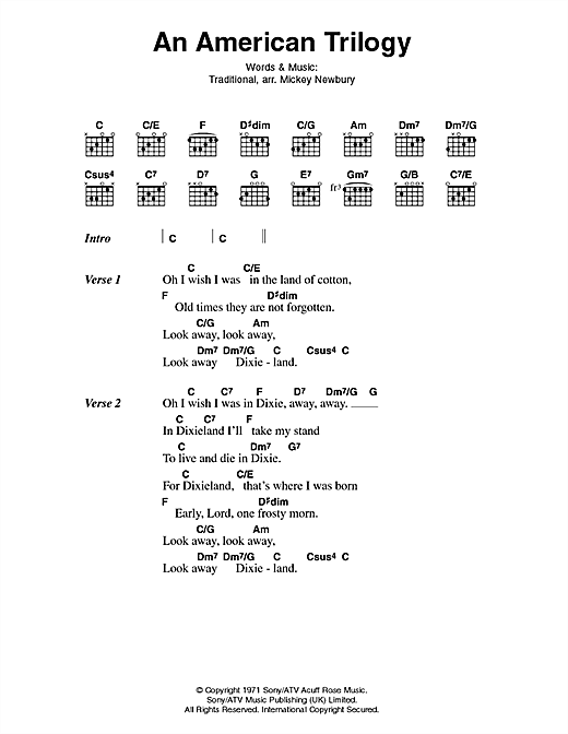 An American Trilogy (Guitar Chords/Lyrics)
