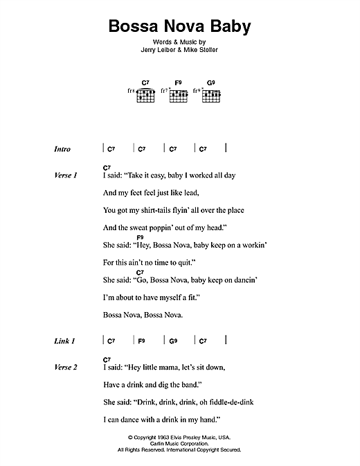 Bossa Nova Baby Sheet Music By Elvis Presley Lyrics Chords 45931