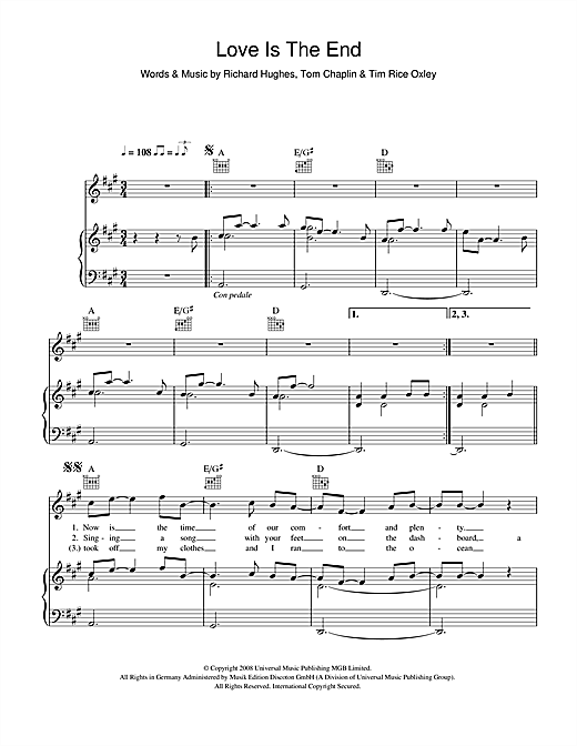 Love Is The End Sheet Music