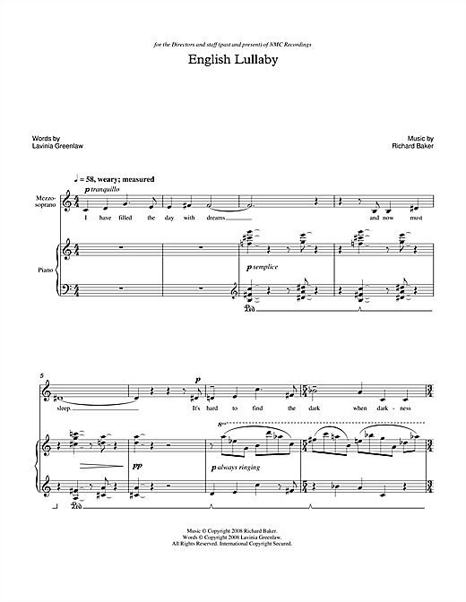 Partition autre English Lullaby (for mezzo-soprano & piano) de Richard Baker - Piano Voix
